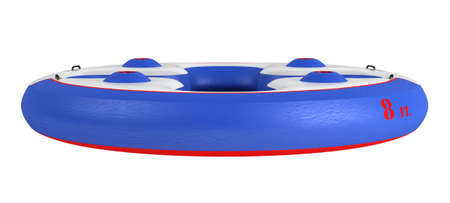inflate boat: Rendered 3d isolated inflatable party platform on white background