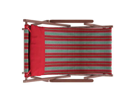 Striped comfortable wooden chaise lounge with red pillow on white background photo