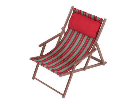 chaise: Striped comfortable wooden chaise lounge with red pillow on white background