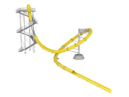 water chute: Yellow waterslide with stair isolated on white background
