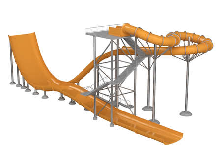 water chute: Orange waterslide with stair isolated on white background Stock Photo