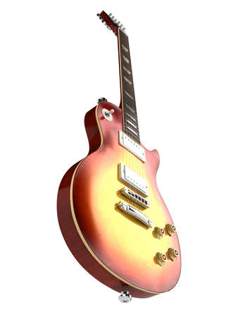 superdirecta: Guitarra el�ctrica aislada sobre fondo blanco Foto de archivo