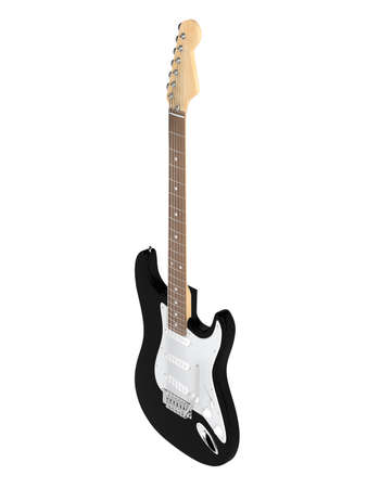 stratocaster: Black electric guitar isolated on white background