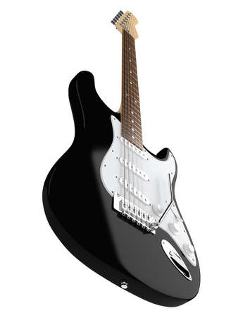 Black electric guitar isolated on white background photo