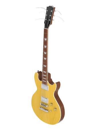 headstock: Orange electro guitar isolated on white background