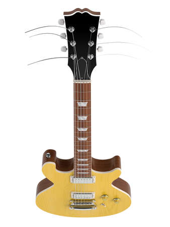 gibson: Orange electro guitar isolated on white background