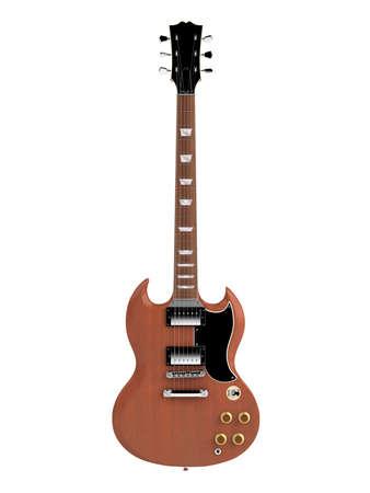 hardrock: Solid body electro guitar isolated on white background Stock Photo