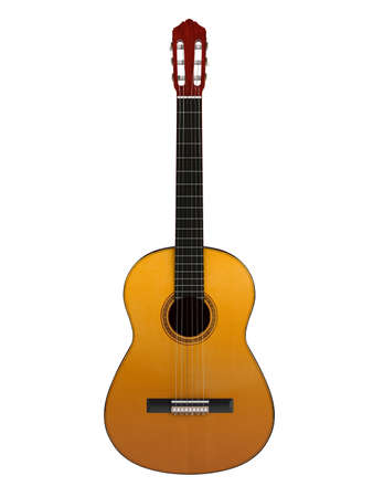 fretboard: Classical guitar with nylon strings isolated on white background Stock Photo