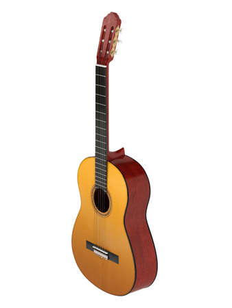 nylon: Classical guitar with nylon strings isolated on white background Stock Photo
