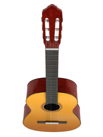 fingerboard: Classical guitar with nylon strings isolated on white background Stock Photo