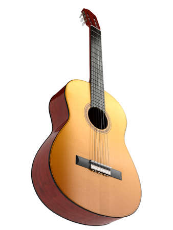 Classical guitar with nylon strings isolated on white background Фото со стока