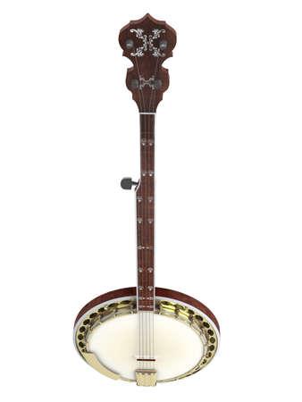 headstock: Banjo isolated on white background Stock Photo