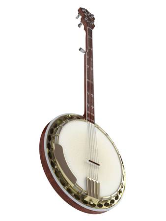 fretboard: Banjo isolated on white background Stock Photo