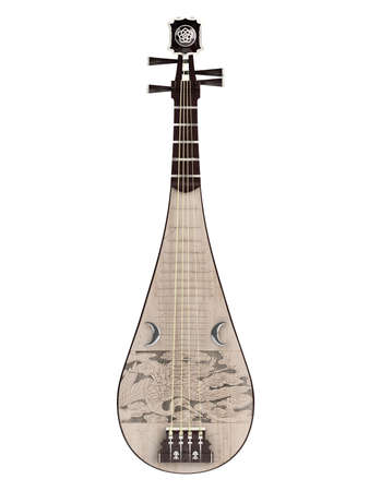lute: Pipa or Chinese guitar  isolated on white background