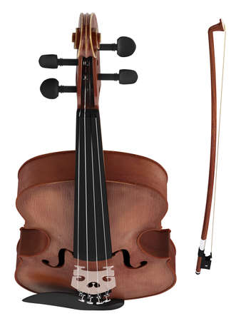 fingerboard: Violin isolated on white background Stock Photo