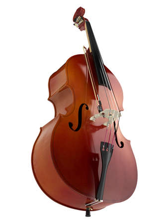 Double bass or string bass, upright bass, standup bass or contrabass isolated on white background