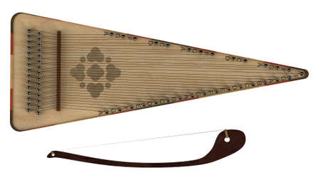 bowed: Bowed psaltery isolated on white background