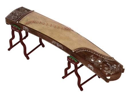 plucking an instrument: Guzheng isolated on white background Stock Photo