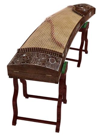 instrumental: Guzheng isolated on white background Stock Photo