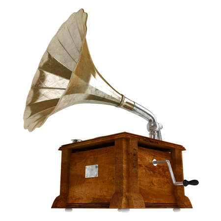 phonograph: Gramophone or phonograph isolated on white background