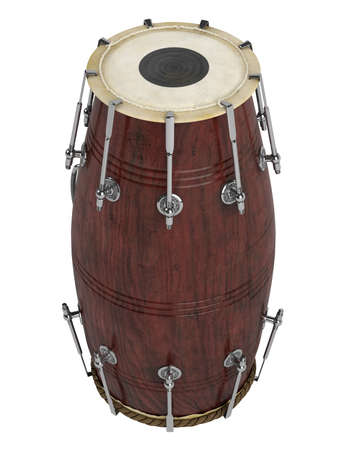 double headed: Double-headed hand-drum or Dholak, Dholki, Naal isolated on white background