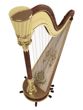 resonator: Harp isolated on white background