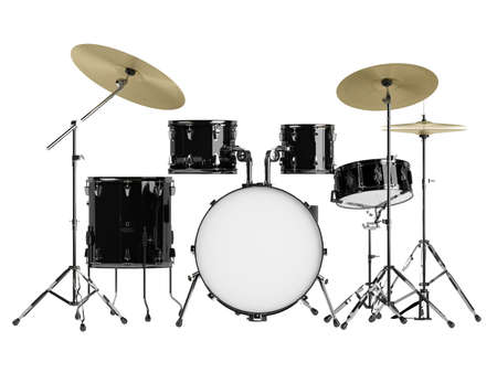 bass drum: Drum kit isolated on white background Stock Photo