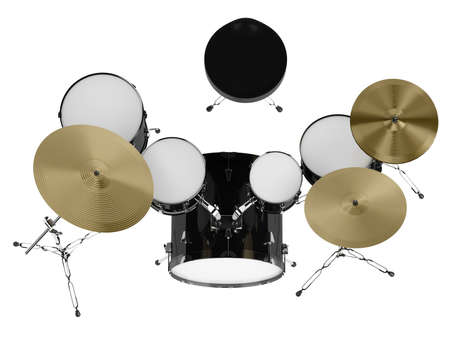 snare drum: Drum kit isolated on white background Stock Photo