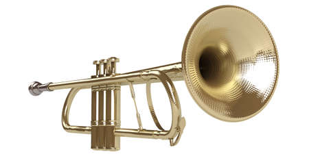 Trumpet isolated on white background Stock Photo - 9617649