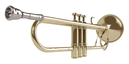 chromium plated: Trumpet isolated on white background