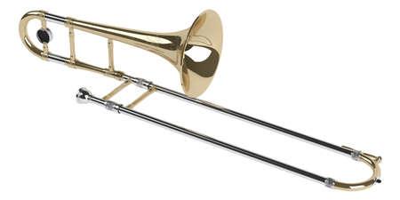 trombón: Tromb�n aislado sobre fondo blanco