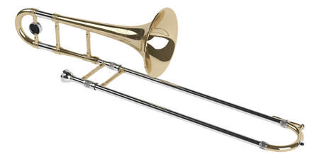brass: Trombone isolated on white background Stock Photo