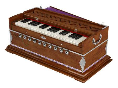 Harmonium isolated on white background