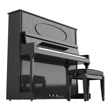 forte: Upright or vertical piano isolated on white background Stock Photo