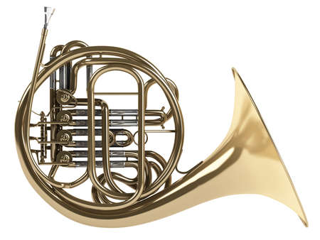 wind instrument: French double horn isolated on white background