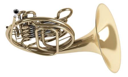 aerophone: French double horn isolated on white background