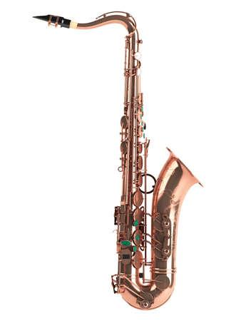 vibran: Saxof�n tenor aislada sobre fondo blanco