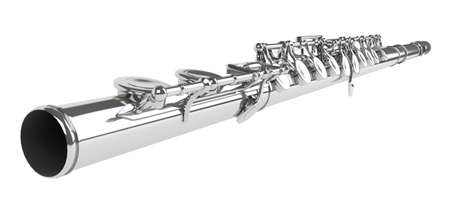 boehm flute: Flauta de concierto o flauta travesera, flauta de Boehm, flauta c aislada sobre fondo blanco