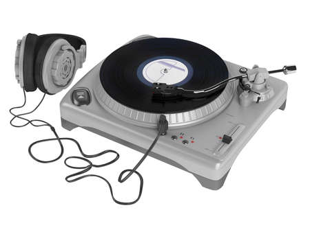instrumental: Turntable isolated on white background Stock Photo
