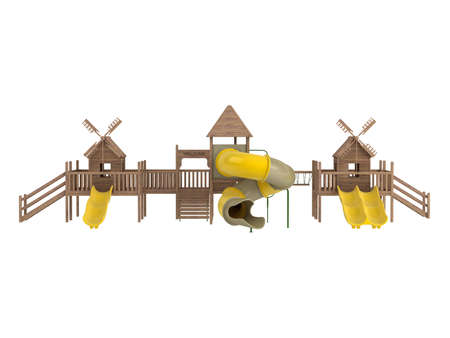 playhouse: Wooden playground isolated on white background