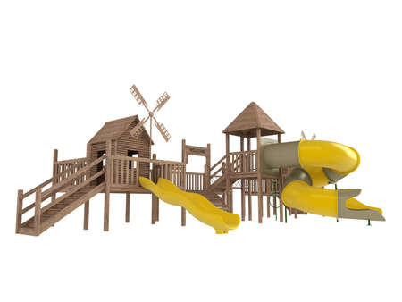 schoolyard: Wooden playground isolated on white background