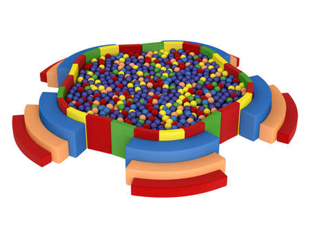 Colorful playground with plastic balls isolated on white background photo