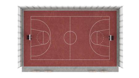 Basketball court isolated on white background photo