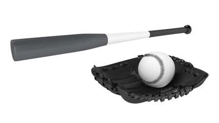 Baseball bat and glove isolated on white background photo