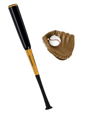 guante de beisbol: Bate de béisbol y un guante aisladas sobre fondo blanco