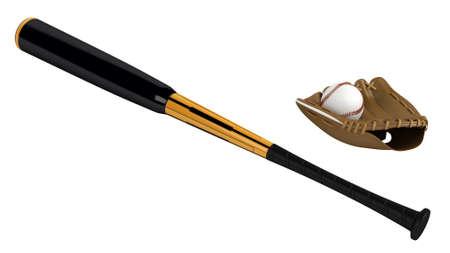 Baseball bat and glove isolated on white background Reklamní fotografie