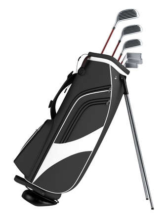 golf bag: Black bag with golf clubs isolated on white background