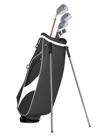 golf equipment: Black bag with golf clubs isolated on white background