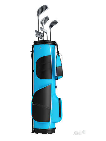 Blue bag with golf clubs isolated on white background photo
