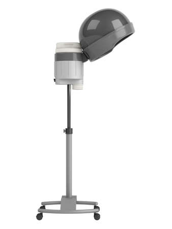 haircare: Stand salon hair steamer on wheels isolated on white background